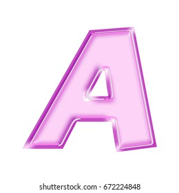Shiny pink and purple bold style uppercase or capital letter A in a 3D illustration with a glossy beveled thick text effect isolated on a white background with clipping path.