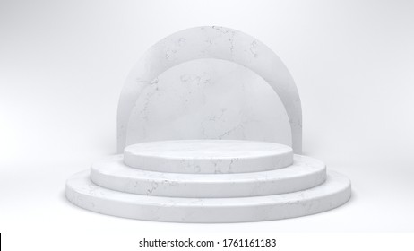 Shiny pink round marble pedestal podium. Abstract high quality 3d concept illuminated pedestal by spotlights on white background. Futuristic marble background. 3d render. Can be used on banners, web. - Shutterstock ID 1761161183