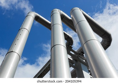 shiny pipeline under blue sky