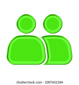 Shiny plastic green two people icon shape in a 3D illustration with a silky shine and bright green color isolated on a white background with clipping paths.
