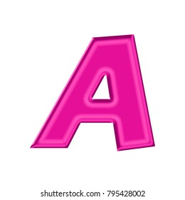 Shiny plastic pink uppercase or capital letter A in a 3D illustration with a silky shine and bright pink color with a basic bold font style isolated on a white background with clipping path.