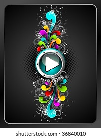 Shiny play button with colorful grunge floral elements on a dark background. (JPG VERSION)