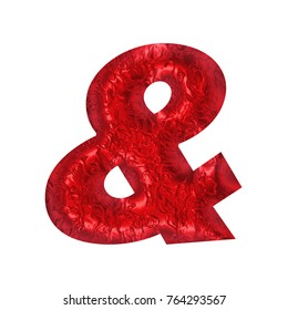 Shiny red foil or rough textured metallic ampersand or and sign symbol in a 3D illustration with a wavy rippled surface effect and basic bold font isolated on a white background with clipping path.