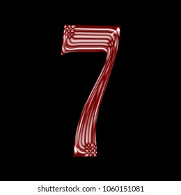 Shiny red glass number seven 7 in a 3D illustration with a smooth vintage color red glass style royal ancient font isolated on a black background with clipping path.