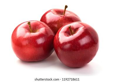 Shiny Red ripe apples, isolated on white background. Fresh raw organic fruits