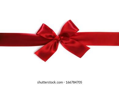 Shiny red satin bow isolated on white background