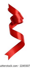 Shiny red satin ribbon isolated on white