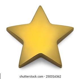 Shiny Reflective Gold Star Isolated on White Background.