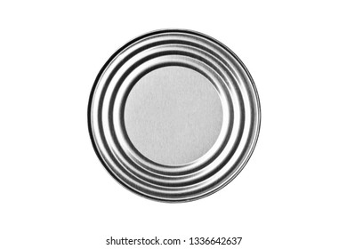 Shiny round metal can. Top view food container circle isolated on white.