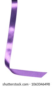 Shiny satin ribbon in lavender color isolated on white background close up