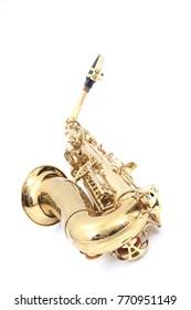 shiny saxophone isolated on the white background