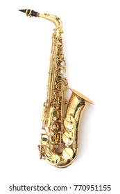 shiny saxophone isolated on the white background