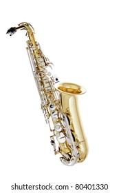 Shiny Saxophone isolated on white background