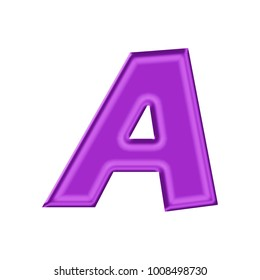 Shiny silk purple uppercase or capital letter A in a 3D illustration with a silky style sheen or shine effect and basic bold font style isolated on a white background with clipping path.
