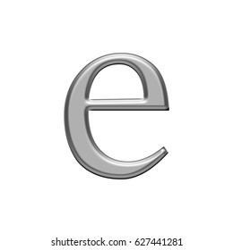 Shiny silver chrome metallic small lowercase letter E illustration with a smooth metal effect isolated on a white background with clipping path.