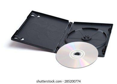 A shiny silver DVD and it's plain black case sitting alone on a white background.