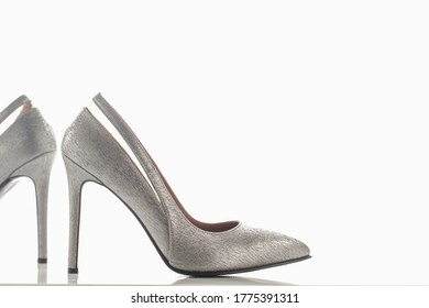 shiny silver high heels for women