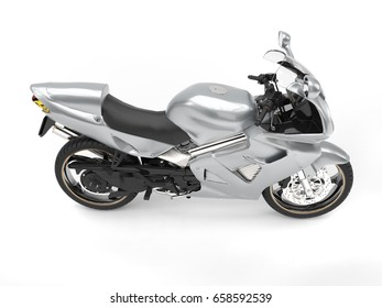 Shiny silver super motor bike - top down side view - 3D Illustration