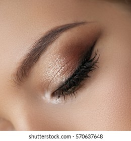 A shiny smokey-eye technique with a perfect brow made by a professional make-up artist.