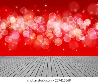 Shiny starry lights on red background. christmas background. light bokeh