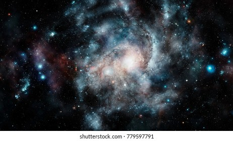 Shiny stars and galaxy space. Night sky background. Elements of this image furnished by NASA.