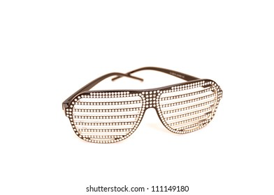 Shiny sunglasses on a white background