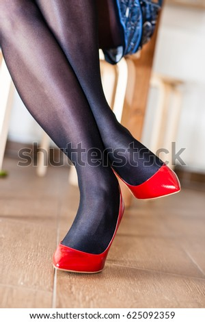 06f3a30558d Shiny Tights Red Heels Stock Photo (Edit Now) 625092359 - Shutterstock