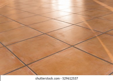 shiny tiled floor with Terracotta tiles