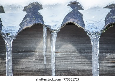 Shiny transparent icicles hanging on a roof close up.