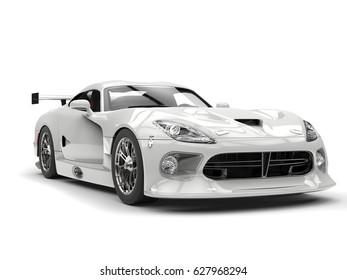 Shiny white fast supercar - front view closeup shot - 3D Render