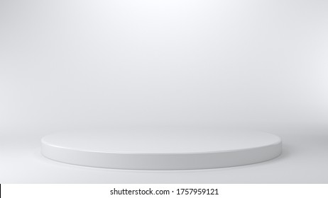 Shiny white round pedestal podium. Abstract high quality 3d concept illuminated pedestal by spotlights on white background. Futuristic background can be add on banners flyers ro web. 3d render.