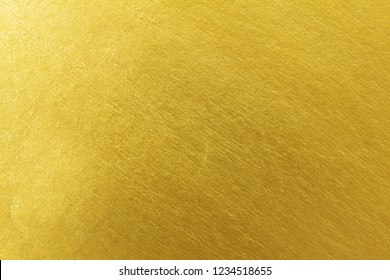 Shiny yellow gold leaf foil texture background.