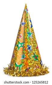 Shiny yellow party hat on white background