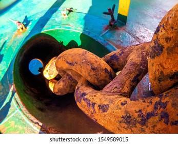 Ship anchor chain pass through the chain-locker pipe