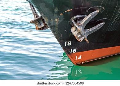 Ship anchor closeup Water level measurement