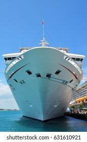 Ship anchored in Nassau, Bahamas