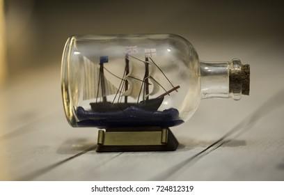 a ship in a bottle/evening sunset light