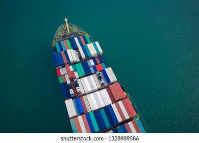 Ship of Business Logistics Cargo concept and the map global partner connection of Container Cargo freight ship for Import Export ,which The logistic and transportation of International,Aerial view