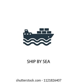 ship by sea icon. Simple element illustration. ship by sea concept symbol design from Delivery collection. Can be used for web and mobile.