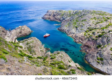 Ship at Cap de Creus, Catalonia, Spain. The most eastern point of Spain and the Iberian Peninsula