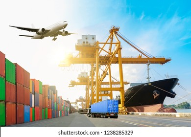 Ship cargo containers loading to harbor by crane , with export and import and logistics.
