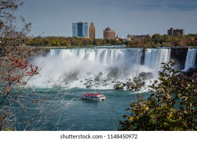 Ship close to Niagara Falls waterfall
