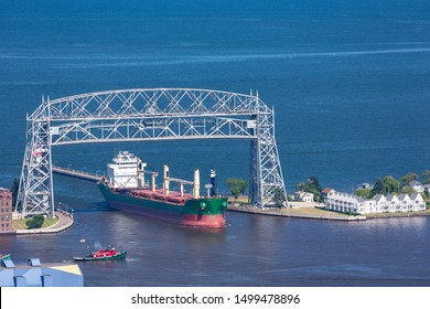 A ship coming into harbor on Lake Superior.