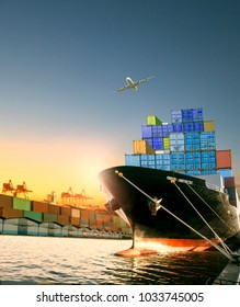 ship and container box and cargo plane flying over shipping dock use for logistic and international transportation
