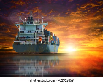 ship with container on blue sky backgroundat international terminal import export goods to customer industrial logistic maritime business.