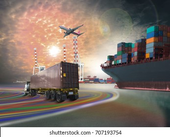 ship with container  train truck and airplane working on blue sky background for import export goods to international terminal and shipping to custom.