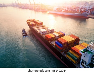 Ship for container with working crane bridge in shipyard for Logistic Import Export background in Thailand.