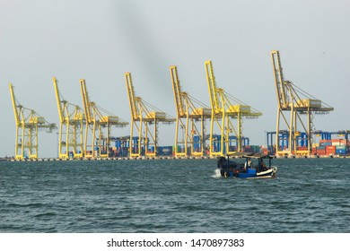 a ship are crossing on the port of Tanjung Emas in Semarang City, Central Java, 17 January 2019