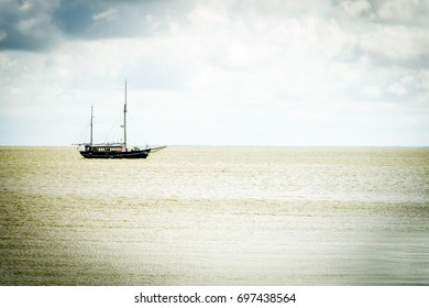 Ship in The Curonian Lagoon, Lithuania