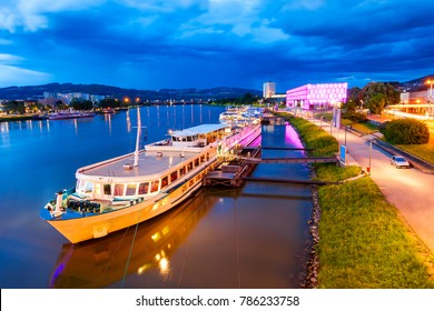 Ship at the Danube river embankment in Linz, Austria. Linz is the third largest city of Austria.